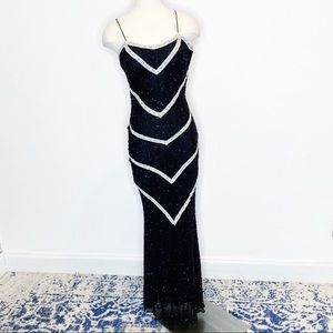 Cache Black Chevron Silk Beaded Formal Dress